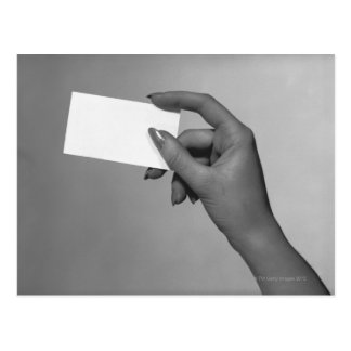 Woman Holding Card Post Card
