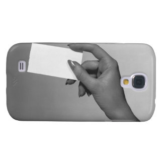 Woman Holding Card Samsung Galaxy S4 Cover