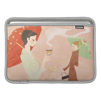 Woman Holding Coffee Sleeve For MacBook Air