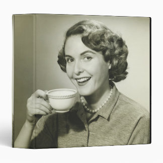 Woman Holding Cups 3 Ring Binder