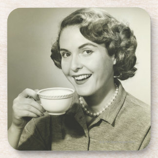 Woman Holding Cups Coaster