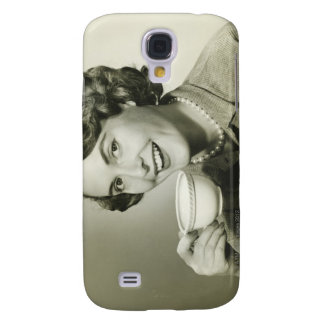 Woman Holding Cups Galaxy S4 Case