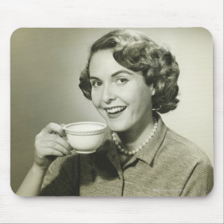 Woman Holding Cups Mouse Pads