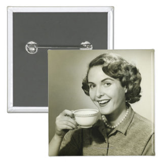Woman Holding Cups Pinback Button