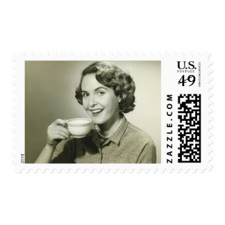Woman Holding Cups Postage Stamp
