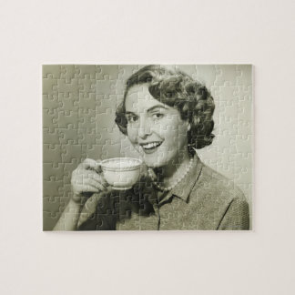 Woman Holding Cups Puzzle