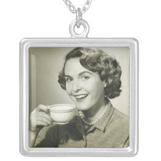 Woman Holding Cups Square Pendant Necklace