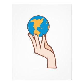 WOMAN HOLDING EARTH LETTERHEAD