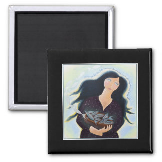 Woman Holding Fish in a Bowl. On Black. 2 Inch Square Magnet