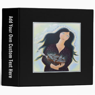 Woman Holding Fish in a Bowl On Black Binders