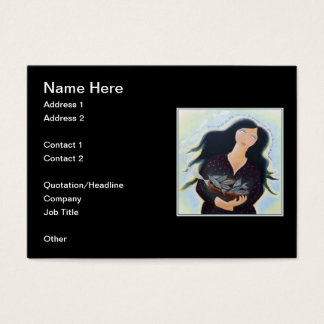 Woman Holding Fish in a Bowl. On Black. Business Card