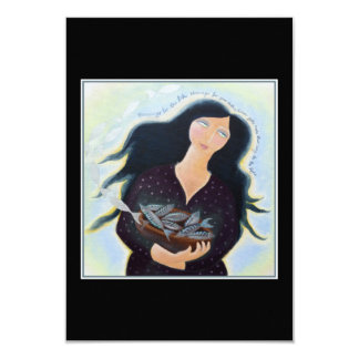 Woman Holding Fish in a Bowl. On Black. Card