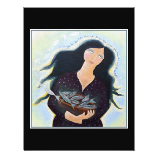 Woman Holding Fish in a Bowl On Black Full Color Flyer