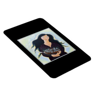 Woman Holding Fish in a Bowl. On Black. Rectangular Photo Magnet