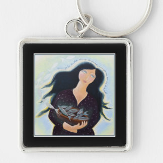 Woman Holding Fish in a Bowl. On Black. Silver-Colored Square Keychain
