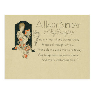 Woman Holding Flowers 1925 Happy Birthday Daughter Postcard