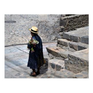 Woman Holding Flowers, Ollantaytambo, Peru Postcard
