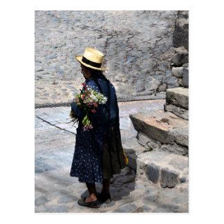 Woman Holding Flowers, Ollantaytambo, Peru (Vert) Postcard