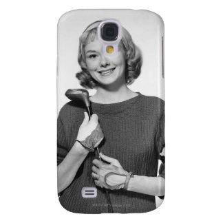 Woman Holding Golf Club Galaxy S4 Case