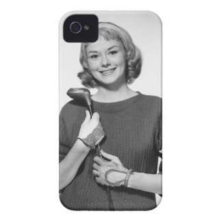Woman Holding Golf Club iPhone 4 Cases