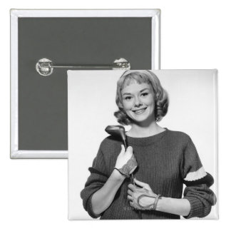 Woman Holding Golf Club Pinback Button