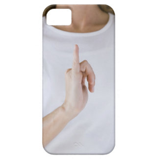 Woman holding hand up with outstretched small iPhone SE/5/5s case