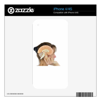 Woman holding hemisphere model  against head skins for the iPhone 4