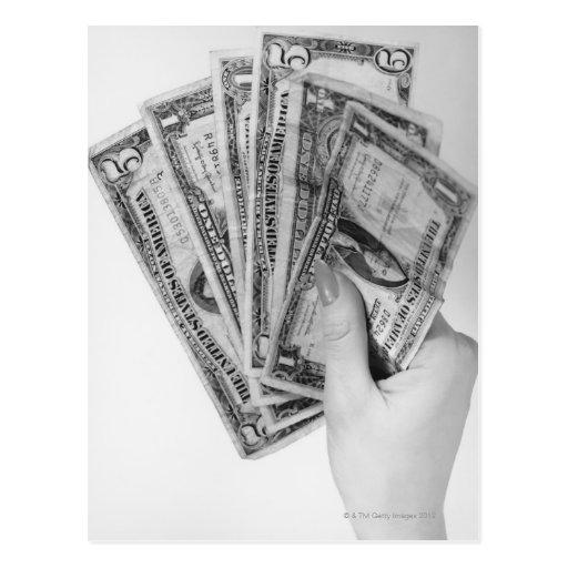 Woman Holding Money Postcards