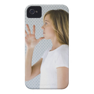 Woman holding open hand to chin. iPhone 4 cover