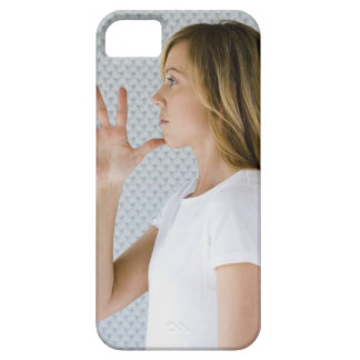 Woman holding open hand to chin. iPhone SE/5/5s case