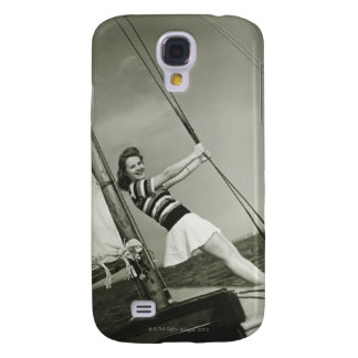 Woman Holding Rigging on Yacht Samsung Galaxy S4 Cases