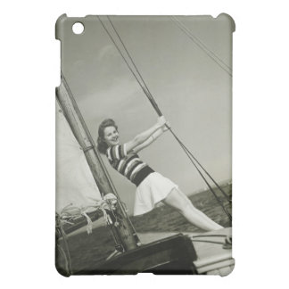 Woman Holding Rigging on Yacht iPad Mini Case