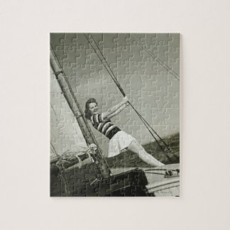 Woman Holding Rigging on Yacht Jigsaw Puzzle