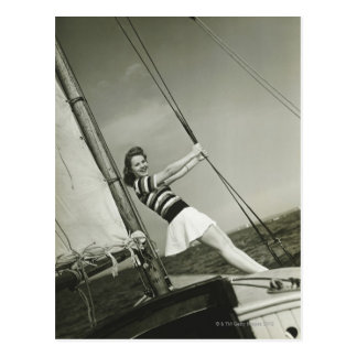 Woman Holding Rigging on Yacht Postcard