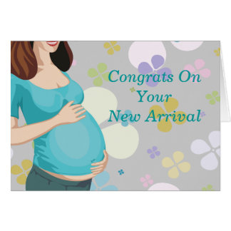 Woman Holding Tummy With Floral Baby Shower Card