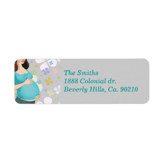 Woman Holding Tummy With Floral Baby Shower Label