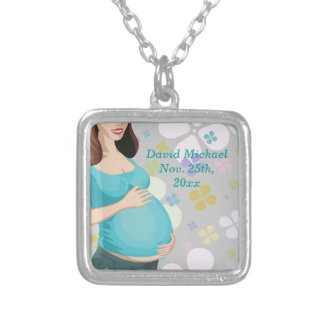 Woman Holding Tummy With Floral Baby Shower Silver Plated Necklace