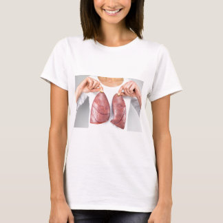 Woman holding two lung models in front of chest T-Shirt