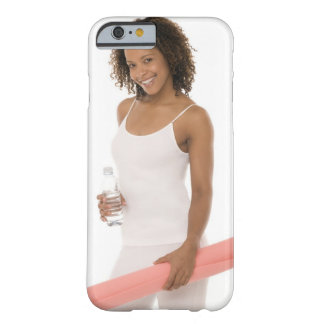 Woman holding water bottle and exercise mat barely there iPhone 6 case