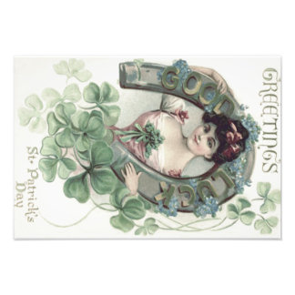 Woman Horseshoe Shamrock Forget-Me-Not Photo Print