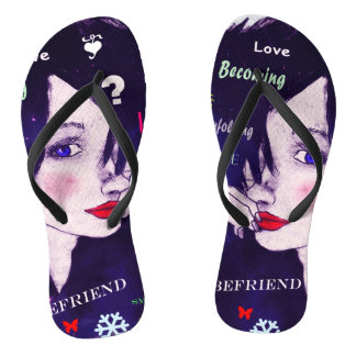 Woman illustration typography hairstyle sketch flip flops