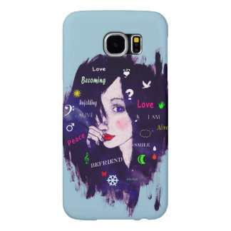 Woman illustration typography hairstyle sketch samsung galaxy s6 cases