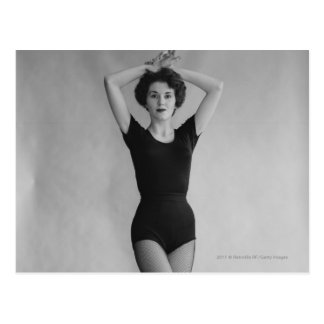 Woman in a ballet leotard portrait postcards