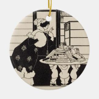 Woman in a Bookshop, design for a 'Yellow Book' co Ceramic Ornament
