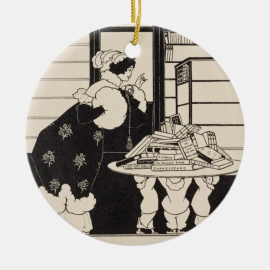 Woman in a Bookshop, design for a 'Yellow Book' co Ceramic Ornament