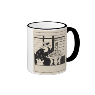 Woman in a Bookshop, design for a 'Yellow Book' co Ringer Coffee Mug
