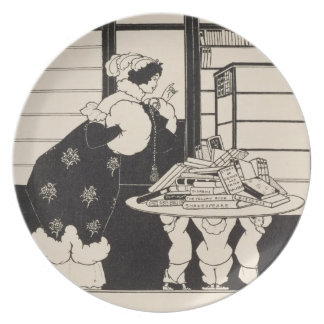 Woman in a Bookshop, design for a 'Yellow Book' co Party Plate