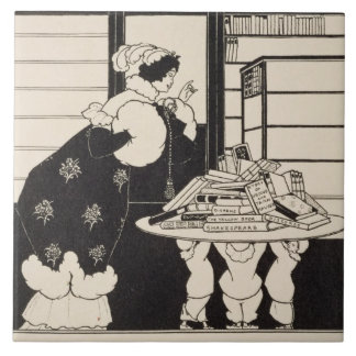 Woman in a Bookshop, design for a 'Yellow Book' co Large Square Tile