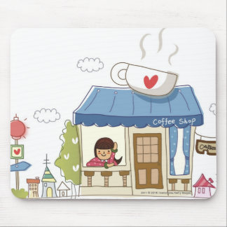 Woman in a coffee shop mouse pad