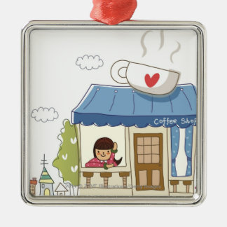 Woman in a coffee shop square metal christmas ornament